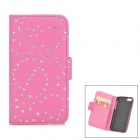 Flower & Leaf Style Protective PU Leather Case for Iphone 5C - Deep Pink + Silver