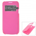 Protective PU Leather + PC Case w/ Display Window for Samsung Galaxy S4 Mini i9190 - Deep Pink