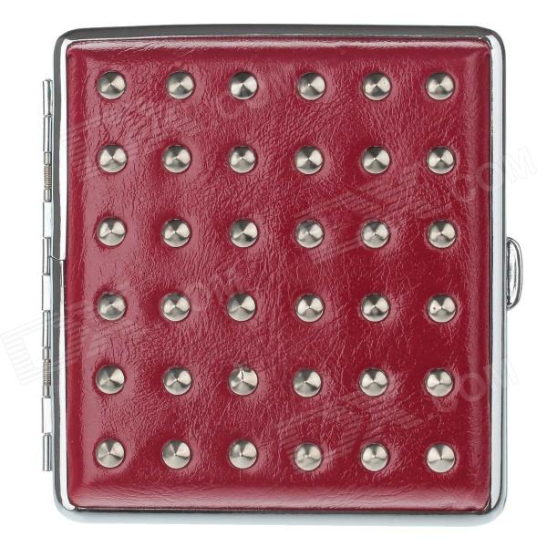 PU Leather + Stainless Steel Double-sided Rivet Cigarette Case - Red + Silver (Holds 20 PCS)