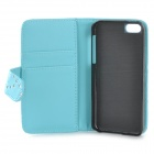 Flower & Leaf Style Protective PU Leather Case for Iphone 5C - Blue + Silver