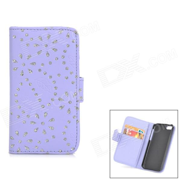 Flower & Leaf Style Protective PU Leather Case for Iphone 5C - Purple + Silver top lcd iphone 5c