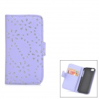 Flower & Leaf Style Protective PU Leather Case for Iphone 5C - Purple + Silver