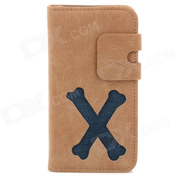 Cute Bone Pattern Protective PU Leather Flip Case for Iphone 4 / 4S - Brown + Blue