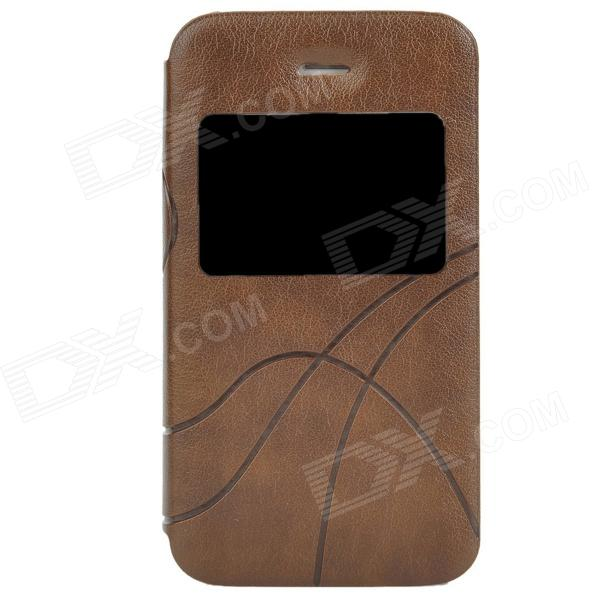 Protective PU Leather Case w/ Display Window for Iphone 4 / 4S - Brown remax protective flip open pu leather case w visual window for iphone 4 4s white