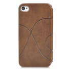 Protective PU Leather Case w/ Display Window for Iphone 4 / 4S - Brown