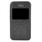 Protective PU Leather Case Cover w/ Visual Window for Iphone 4 / 4S - Black