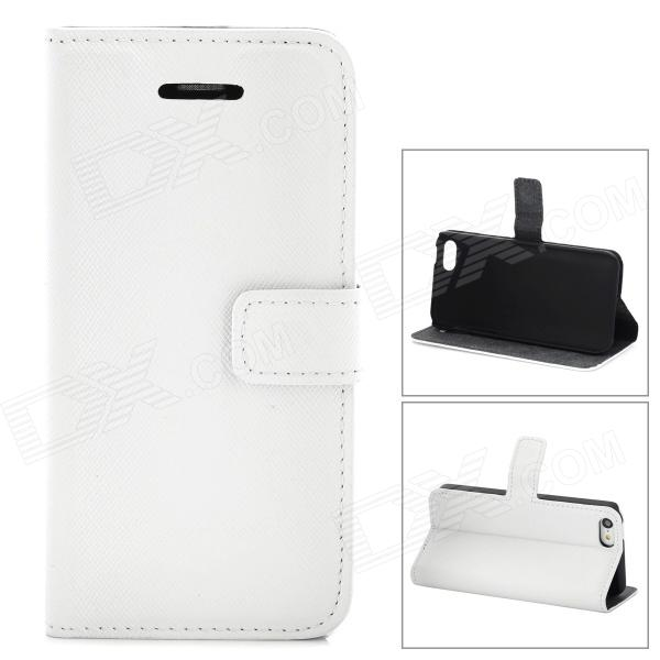Stylish Protective PU Leather Case w/ Card Holder for Iphone  5c - White stylish protective pu leather case for iphone 5c white transparent black