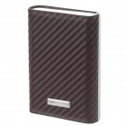 Focus YH-008 PU Leather + Stainless Steel Cigarette Case - Silver + Brown