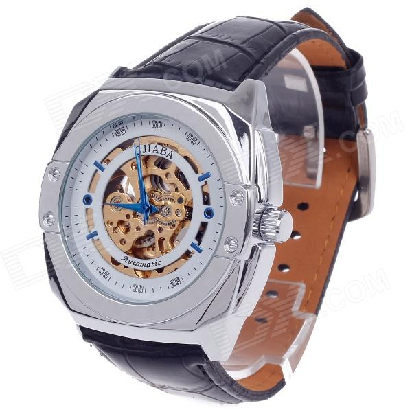 CJIABA GK8017 Cow Split Leather Band Mechanical Men's Wrist Watch - Black + Golden + White + Blue
