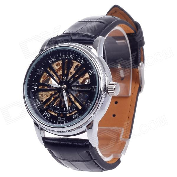 CJIABA GK8020 Double-Sided Hollow Automatic Mechanical Analog Men's Wrist Watch - Black + Golden
