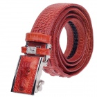 Fashion Crocodile Texture Men's Waist Belt w/ Zinc Alloy Automatic Buckle - Reddish Brown