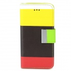 Fashion Colorful PU Leather Case w/ Card Slot for Iphone 5C - Black + Yellow + Red