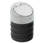 635B Stainless Steel Automatic Spring Lid Ashtray - Silver + Black