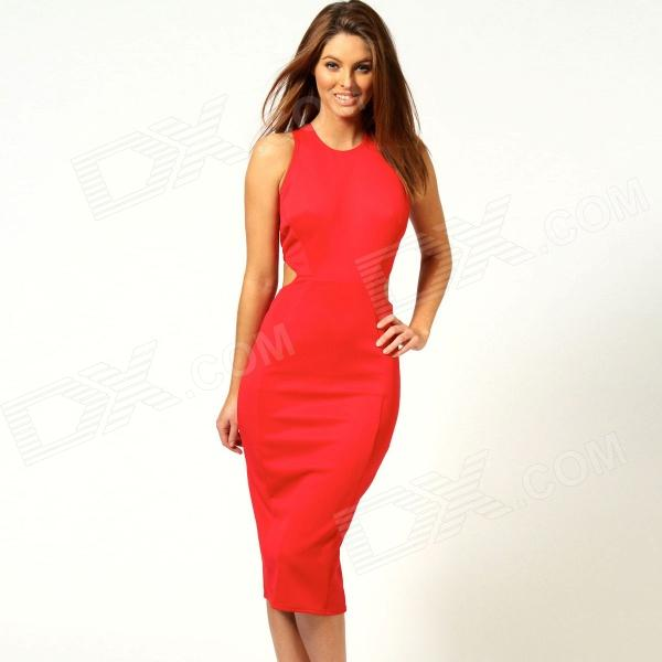 LC6141-3 Fashionable Woman's Bodycon Hollow-out Midi Dress - Red (Free Size)