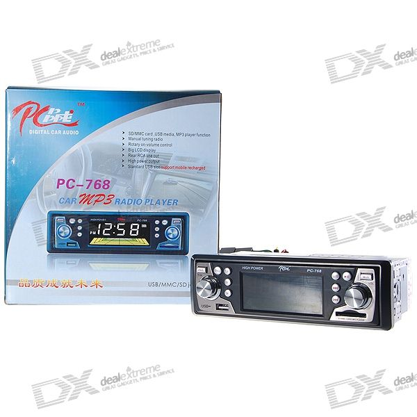 "In-Dash Stereo 3.2"" LCD SDHC SD/MMC MP3 Player + AM/FM Radio with USB Host"