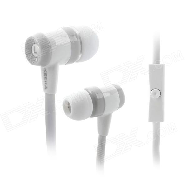 KEEKA MIC-103 In-Ear Earphone w/ Microphone for Cellphones - White + Grey fshang q8 in ear 3 5mm earphone with microphone for iphone samsung white