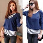 Stylish Round Neck Stripe Simulation II Long-Sleeve Women's T-Shirt - Blue + White (Size-M)