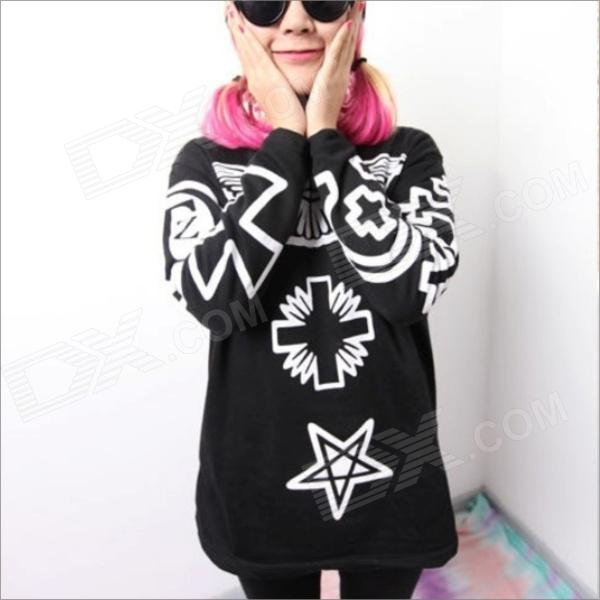 Fashionable Women's Religious Cross Long-Sleeve Sweater T-Shirt - Black (Size-L)