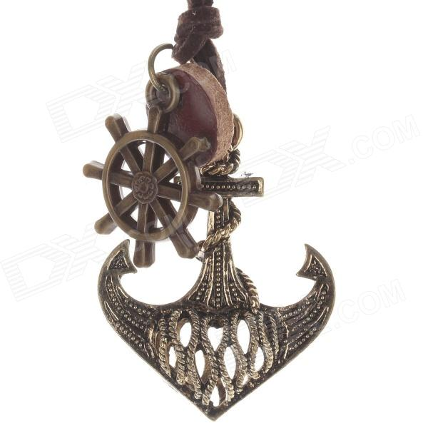 Retro Anchor Pendant Long Necklace for Women - Bronze + Brown