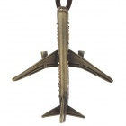 Retro Plane Style Pendant w/ Shiny Rhinestone Long Necklace for Women - Bronze