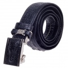 Fashionable Crocodile Texture Men's Waist Belt w/ Zinc Alloy Automatic Buckle - Black