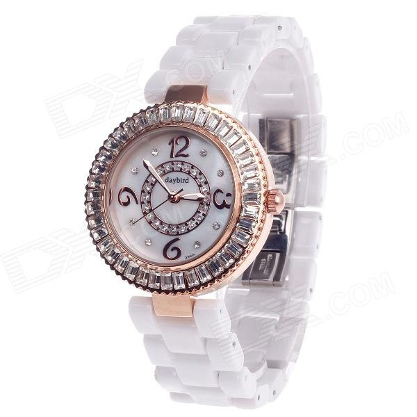 Daybird 3798 Ceramic Band Quartz Women's Wrist Watch w/ Rhinestone - White + Rose Gold (1 x LR626) daybird 3791 ceramic band quartz women s wrist watch w rhinestone black rose gold 1 x lr626