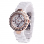 Daybird 3798 Ceramic Band Quartz Women's Wrist Watch w/ Rhinestone - White + Rose Gold (1 x LR626)