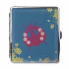 775-4 Beetle Pattern Portable PU Leather + Aluminium Alloy Cigarette Case - Blue + Red (Holds 20)
