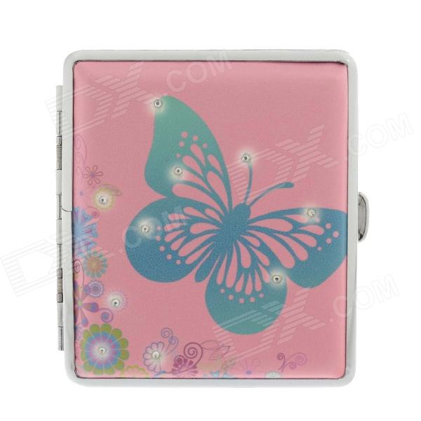 775-4 Butterfly Pattern Portable PU Leather + Aluminium Alloy Cigarette Case - Pink + Blue