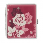 775-4 Fashion Rose Pattern Portable PU Leather + Aluminium Alloy Cigarette Case - Red + White