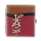 775-4 Waistcoat Pattern Portable PU Leather + Aluminium Alloy Cigarette Case - Red + Brown