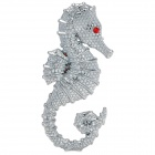 AiShangChe 3D Seahorse Style Alloy Car Decorative Sticker - Silver