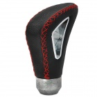 Sylish Leather + Aluminum Alloy Car Shift Gear Knob - Black + Silver + Red