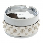 Cool Rivet Rotary Style Top Aluminium Alloy+ PU Ashtray - Silver + White