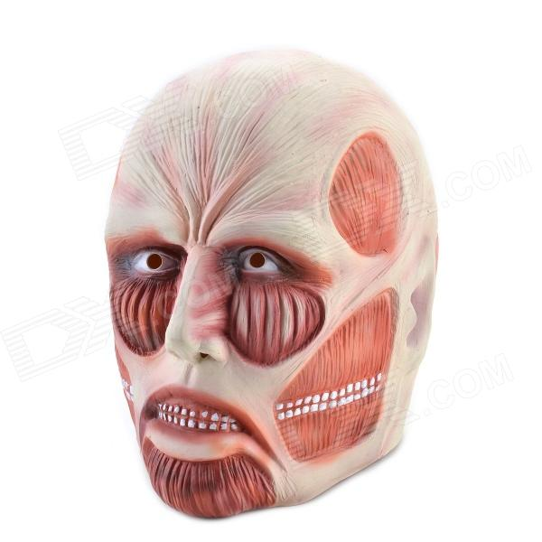 Well-muscled Natural Rubber Attack on Titan Mask - Nude + Red halloween natural rubber bald ghost mask red white