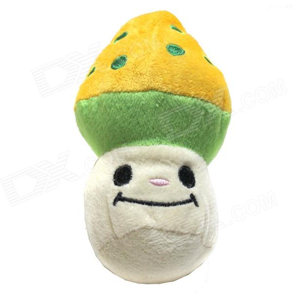 Pet Dog Cat Mushroom Style Squeaky Plush Toy - Green + Yellow + White free shipping new version bs 2400 2200w low noise per dryer pet blower with eu plug dog cat variable speed dryer pet grooming