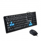 Dian Wan Lian Meng Knife Shadow 2 Waterproof Cool Blue Game Keyboard & Mosue Kits - Black + Blue