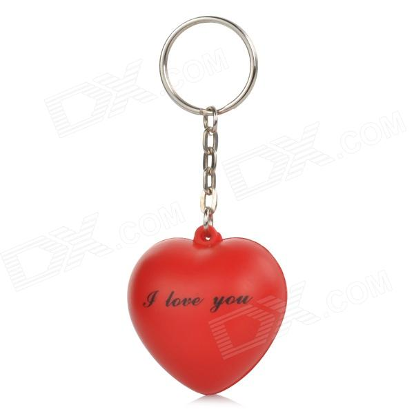 Cute Heart Style Silicone Pendant Keychain - Red
