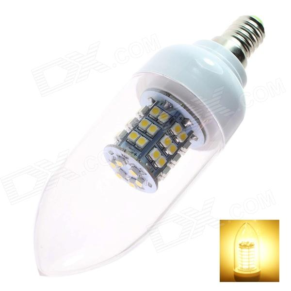 GCD N2  E14 3W 200lm 3500K 48-SMD 3528 LED Warm White Light Lamp Bulb - White (AC110-120V)E14<br>Brand GCD Model N2 Material PVC + high quality copper Color White Quantity 1 Emitter Type SMD 3528 LED Total Emitters 48 Power 3 W Color BIN Warm White Rate Voltage 110-120 V Chip Working Voltage 3.5 Luminous Flux 200 lm Color Temperature 2700 K Wavelength No nm Connector Type E14 Application Landscape lighting architectural lighting entertainment lighting restaurants hotels ambient lighting art galleries and use in many household applications Features Low power consumption effective and energy-saving low heating long service life; Easy to install simply to replace convenient using; Suitable for home shops offices studio and exhibition lighting; Life time: &gt;60000 hours Other RoHS / CE Packing List 1 x LED lamp bulb<br>