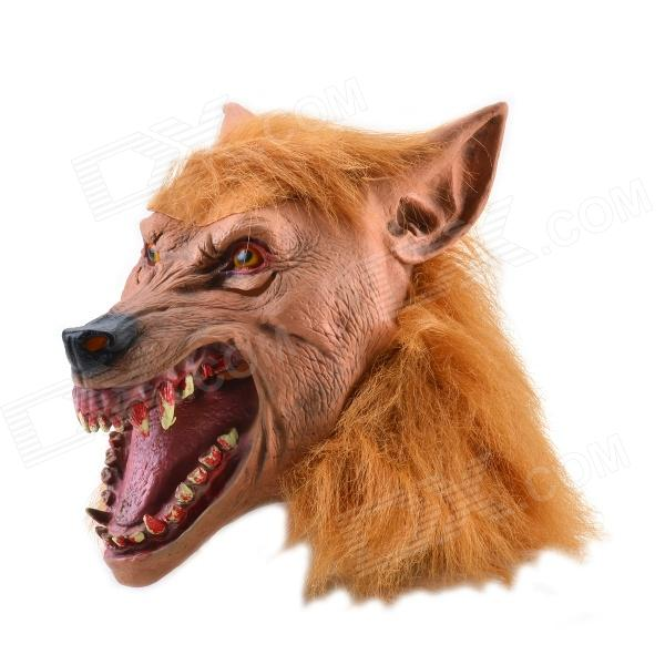 Brown Hair Fiendish Wolf King w/ Blood Tooth Mask for Halloween - Brown + Black