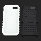 Square Anti-skid Plastic Back Case w/ Stand for Iphone 5C - Black + White