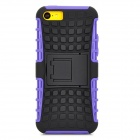 Square Anti-skid Plastic Back Case w/ Stand for Iphone 5C - Black + Purple
