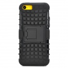 Square Anti-skid Plastic Back Case w/ Stand for Iphone 5C - Black