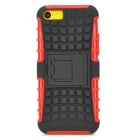 Square Anti-skid Plastic Back Case w/ Stand for Iphone 5C - Black + Red