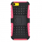 Square Anti-skid Plastic Back Case w/ Stand for Iphone 5C - Black + Deep Pink