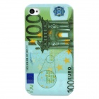 100 Euro Pattern Protective Plastic Back Case for Iphone 4S - Multicolored