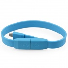 USB Male to Micro USB Male Flat Wrist Bracelet Cable - Blue (20cm)