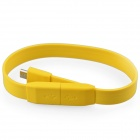 USB Male to Micro USB Male Flat Wrist Bracelet Cable - Yellow(20cm)