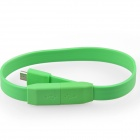 USB Male to Micro USB Male Flat Wrist Bracelet Cable - Green (20cm)