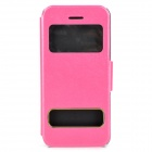 Silk Style Display Window Protective PU Leather for Iphone 5C - Deep Pink